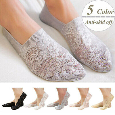 Women Invisible No Show Nonslip Ultra-thin Lace Boat Liner Low Cut Cotton Socks