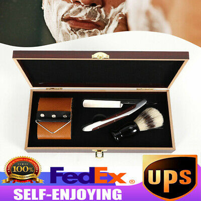 440C Steel Cut Throat Antique Straight Razor Shaving Brush Strop Wooden Box