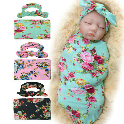 Newborn Infant Baby Receiving Blanket with Headband Floral Shower Swaddle Gift