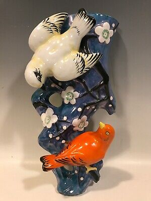 Striking Figural High Luster Wall Pocket/Vase HP Birds on a Cherry Blossom Tree