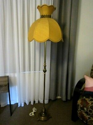 Stunning Vintage Brass Base Standard Floor Lamp With Gorgeous Gold Shade
