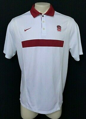 6b8ae388 NIKE Mens Stanford Cardinals White Red Dri-Fit Golf Casual Polo Shirt Size L