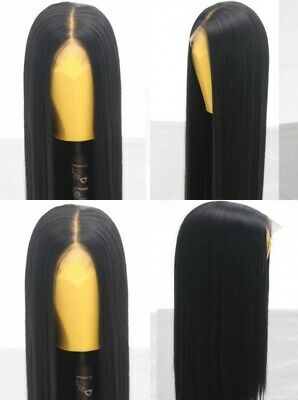 """AU 24"""" Natural Straight Synthetic Fiber Hair Handtied Off Black Lace Front Wig"""