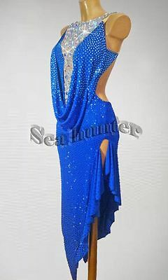 Women Ballroom Latin Rhythm Competition Dance Dress US 2 UK 4 Blue Sliver Color