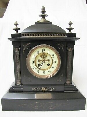 Antique 1893 Japy Freres & Cie Bronze & Marble Clock. Open Escapment