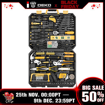 DEKO 168PCS Hand Mechanics Tool Set Standard Socket Wrench Screwdriver