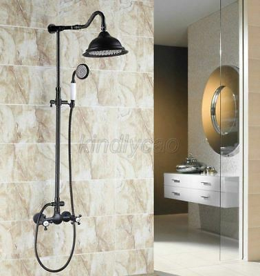 Black oil Antique Brass Dual Cross Handle Bathroom Rain Shower Faucet Set Krs792