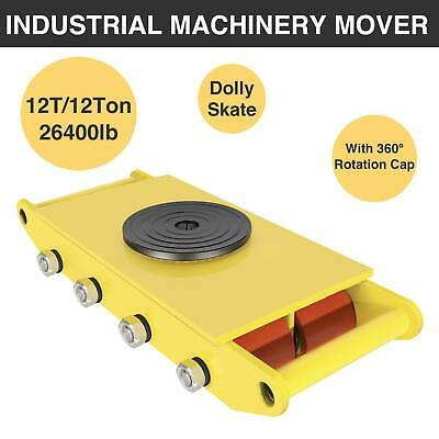 Machinery Mover 360°Rotation Cap 12T Dolly Skate Trolley Yellow Swivel