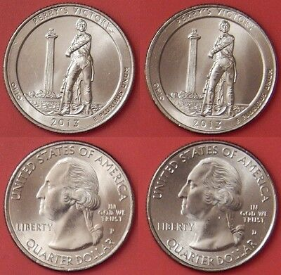 Brilliant Uncirculated 2013 P & D US Perry's Victory 25 Cents From Mint's Rolls