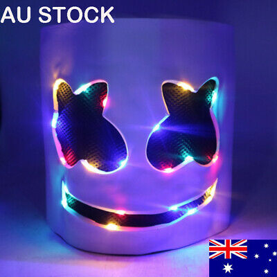 LED MarshMello-DJ Mask Full Head Helmet Cosplay Marshmallow-Bar Party Music Prop
