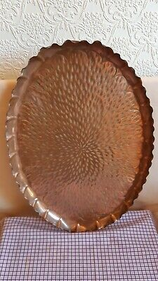 """ARTS CRAFTS TRAY OVAL PIE CRUST COPPER TRAY 20.5"""" x 14""""    WEIGHT 1.09O Kg"""