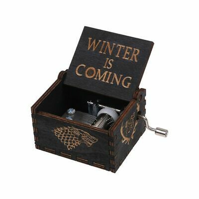 GAME OF THRONES -  Retro BLACK Wooden Hand Crank Engraved Music Box Toys Gift CA