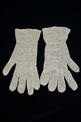 Vintage Edwardian Period Cotton Hand Made Lace Gloves Sz 6-7