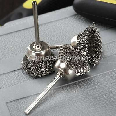 "10Pcs Steel Wire Cup Wheel Polishing Brushes 1/8"" Shank Grinder Rotary Tools UK"