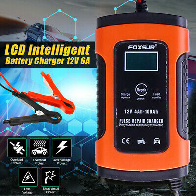 UK Car Battery Charger 12V 5A LCD Intelligent Automobile Motorcycle Pulse Repair