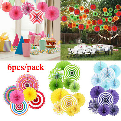6 Pcs Tissue Hanging Paper Fan Wedding Birthday Garland Party Decor Baby Shower
