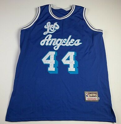 89140f5e5ac Mitchell Ness Hardwood Classic Jerry West Angeles Lakers Jersey Size 52  (FLAWS)