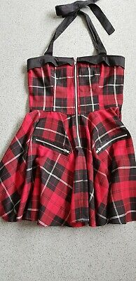 30019b7cbf89 Hell Bunny Red Tartan Mini Dress Halterneck Punk / Gothic UK Size 12-14,