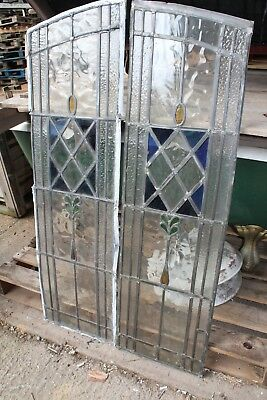 Reclaimed Leaded Stained Glass Twin Panels (SGP02)