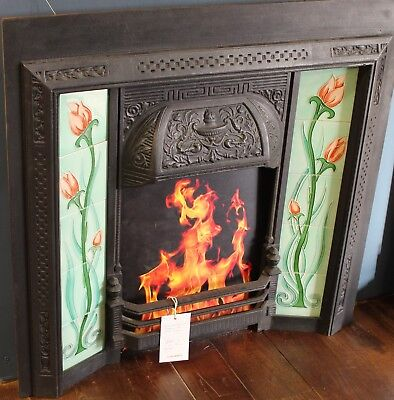 Reclaimed Cast Iron Fire Place with Tulip tiled inserts (rec108)
