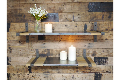 Shelves x2 Wood Industrial Rustic Wall Mount Floating Display Storage Decor