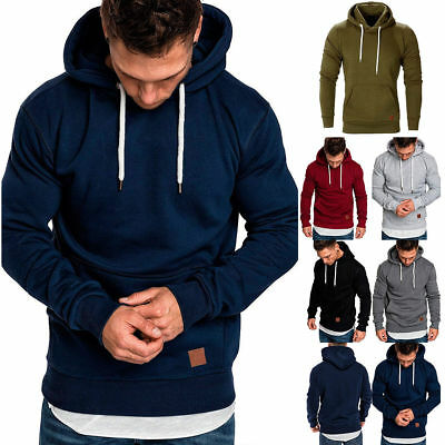 Mens Winter Hoodies Slim Hooded Sweatshirt Jumper Outwear Sweater Jacket Tops