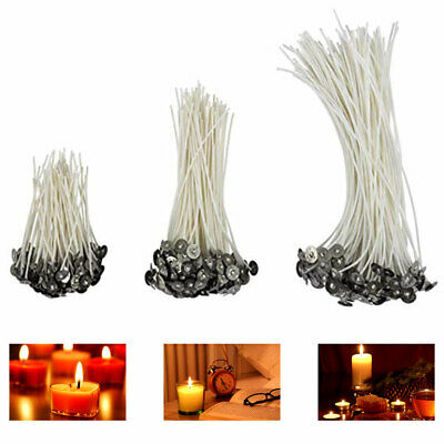 100pcs Candle Wicks Pre-waxed for Candle Making Natural Cotton Core w Sustainers