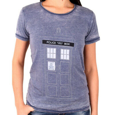 OFFICIAL Doctor Who (Dr) Tardis Police Box Grey Ladies Womens T-Shirt Top (NEW)