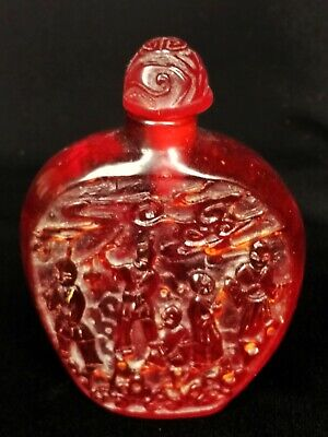 Stunning Chinese Carved Amber Snuff Bottle Figures Shou Symbol
