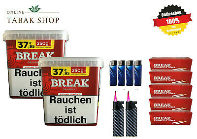 2 x Break Original Volumentabak Tabak 300g BOX 1200 Break Hülsen Benzinfeuerzeug