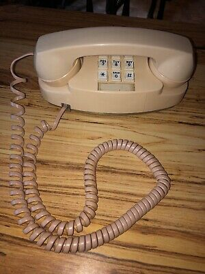 Vintage Beige Princess Western Electric Bell System Push Button Desk Telephone