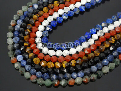 Natural Gemstones 24 Faceted Polygons Spacer Beads 15'' Strand 6mm 8mm 10mm