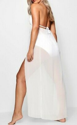 f0cec6ded9 Boohoo Plus Chiffon Plunge Split White Maxi Beach Dress Uk 24 Holiday Swim  New