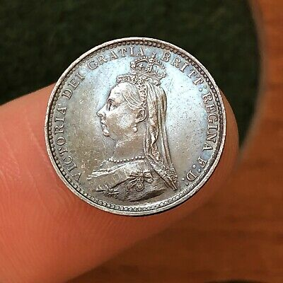 Victoria, Silver Threepence 3d Coin, 1887. Jubilee Year.