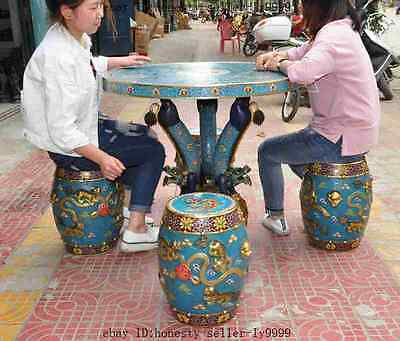 "36""old beijing palace bronze gold Cloisonne 9 dragon table Desk foo dog 4 chairs"