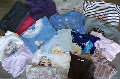ecd5d138abc81 Gros lot 21 vetements fille 6 - 8 ans t-shirts, pantalons Elsa Disney