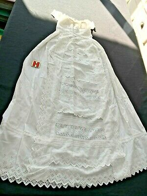 Antique Vintage Christening gown Broderie Anglais exquisite quality Lot H