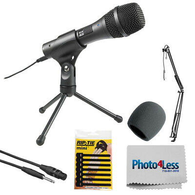 Audio-Technica Dynamic Handheld Microphone + Broadcast/Webcast Boom Arm with XL