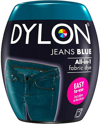 DYLON Washing Machine Dye Pod Jeans Blue 350G Permanent Dyes-up Fabric Powder