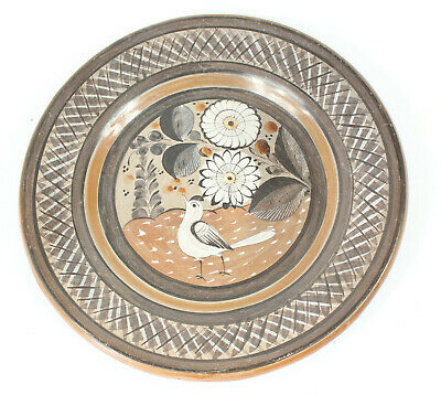 Vintage 1950's Mexican Tonala Pottery Charger Plate Bird Floral Design