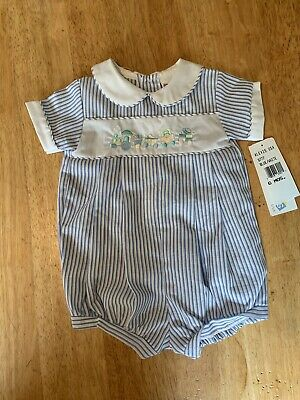 5727f15b7 Alexis Baby Boy Boutique Style Bubble Romper EASTER outfit! Size 6 mo Train  Blue