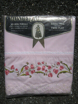 Vtg NOS WONDERCALE by SPRINGMAID Twin Flat Sheet Pink Lily of the Valley