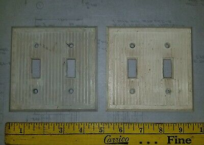 Lot of 2 Reclaimed Vintage IVORY ORNATE BAKELITE Double gang SWITCH PLATE COVERS