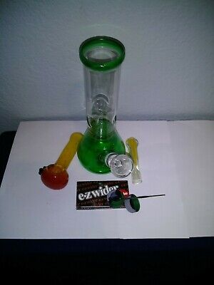 Glass Bong W/Ice Catch & Waffel 4 inch Pipe One Hitter Papers Continer Deb Stic