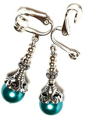 Classy Silver Teal Pearl Clip On Earrings Glass Bead Antique Vintage Style