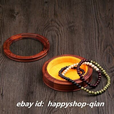 Chinese Vintage Rosewood Hand-carved Round Jewelry Box Storage Boxes Glass Cover
