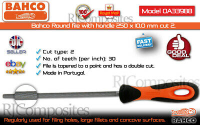 Bahco (10in) Round file with handle 250x10.0 mm cut 2. 1-160-06-2-2
