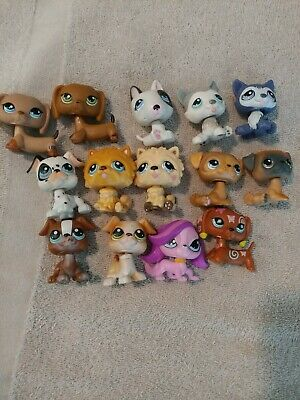 Littlest Pet Shop LPS Dog Mixed 14 pc Lot-Dachsund Husky Pug Dalmation
