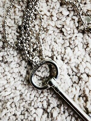 492e04538 Tiffany & Co. Oval Key Pendant Necklace in 925 Sterling Silver and Beaded  Chain