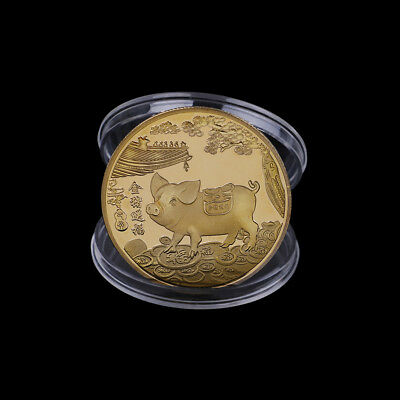 Gold plated pig commemorative coins Chinese zodiac anniversary coin souvenirZPP